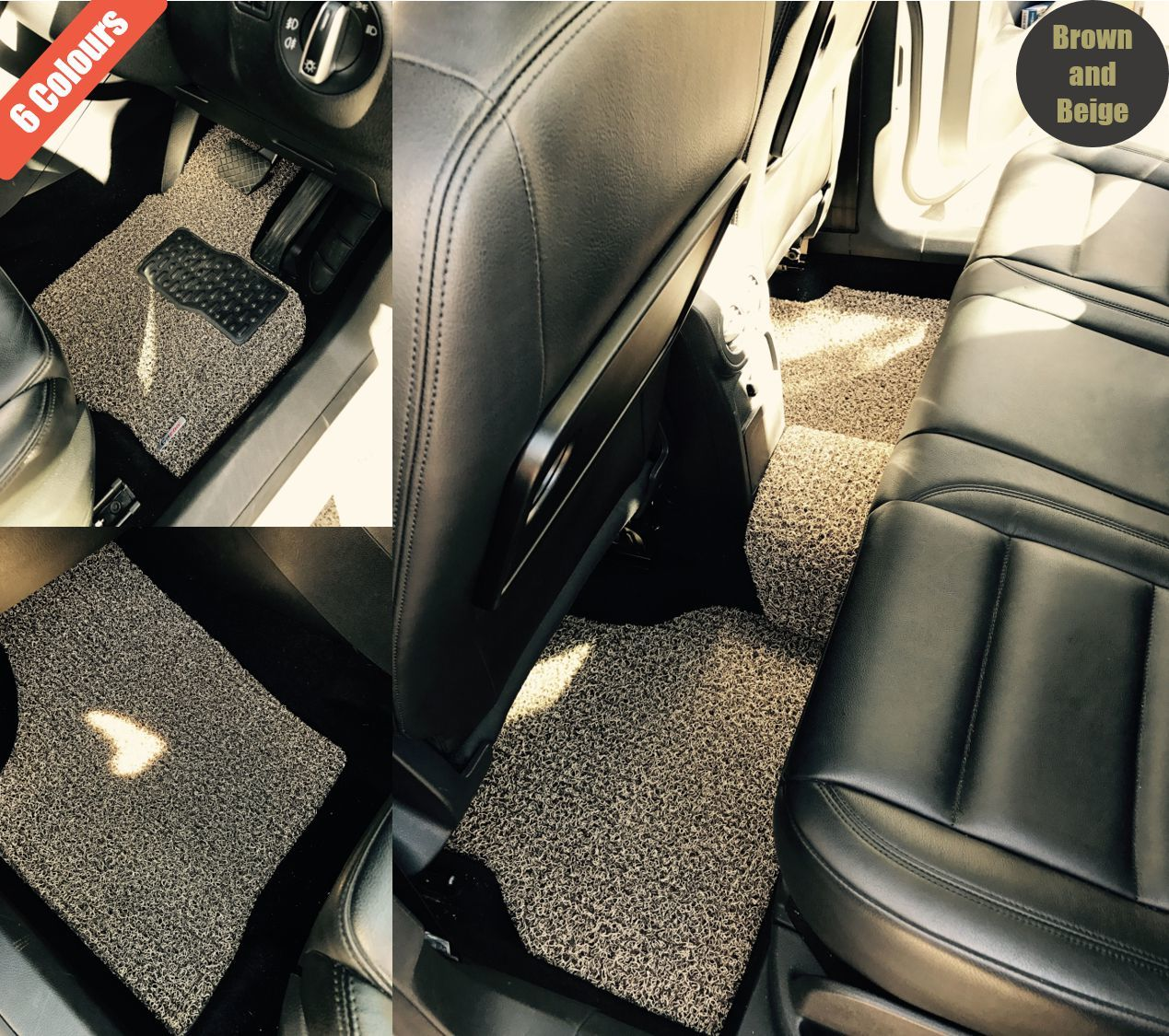 Goroo Custom Car Floor Mats - Brown and Beige