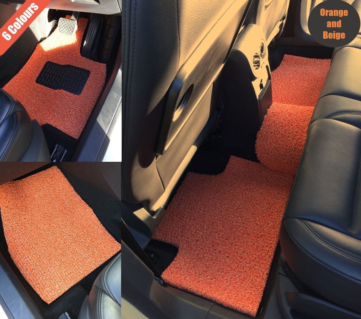 Goroo Custom Car Floor Mats - Orange and Beige