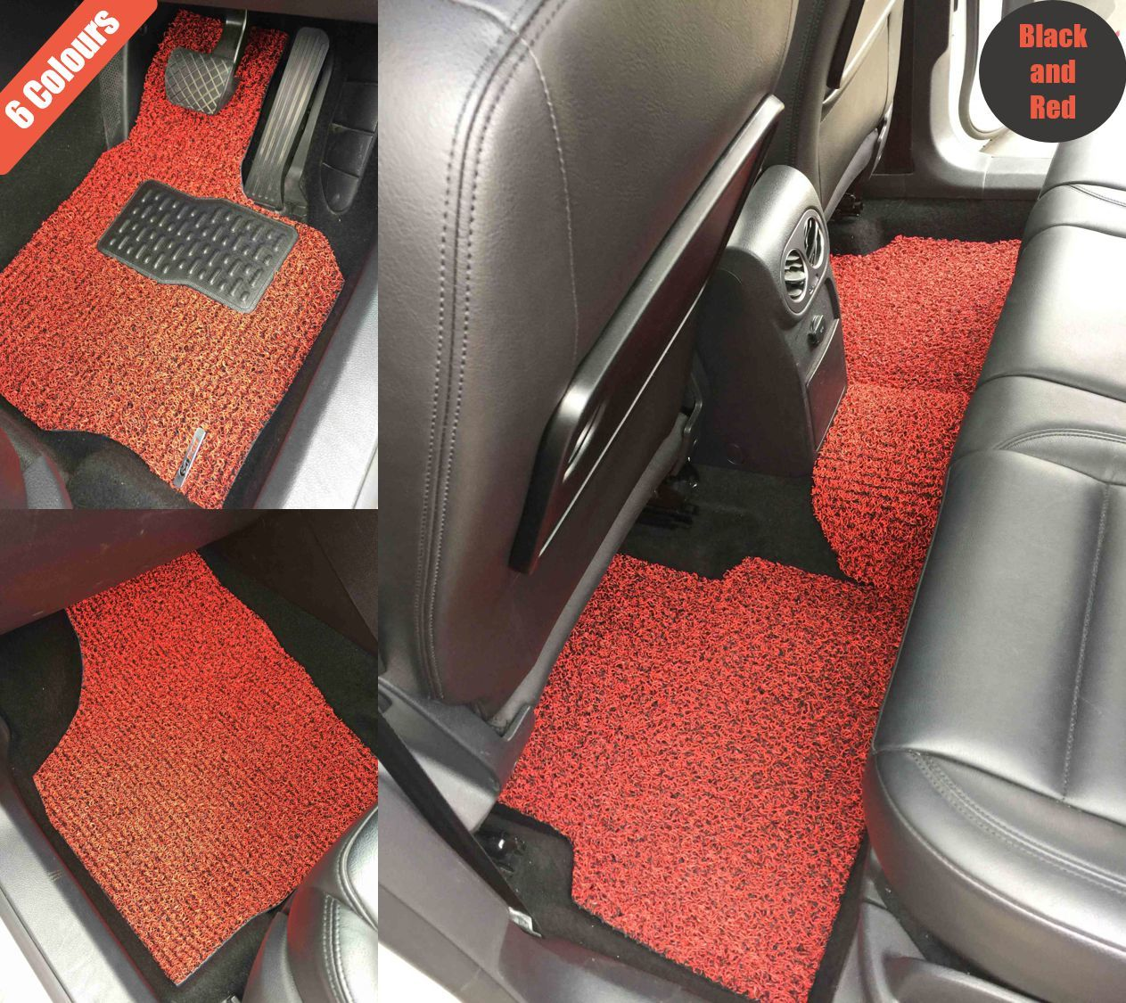 Goroo Custom Car Floor Mats - Black and Red